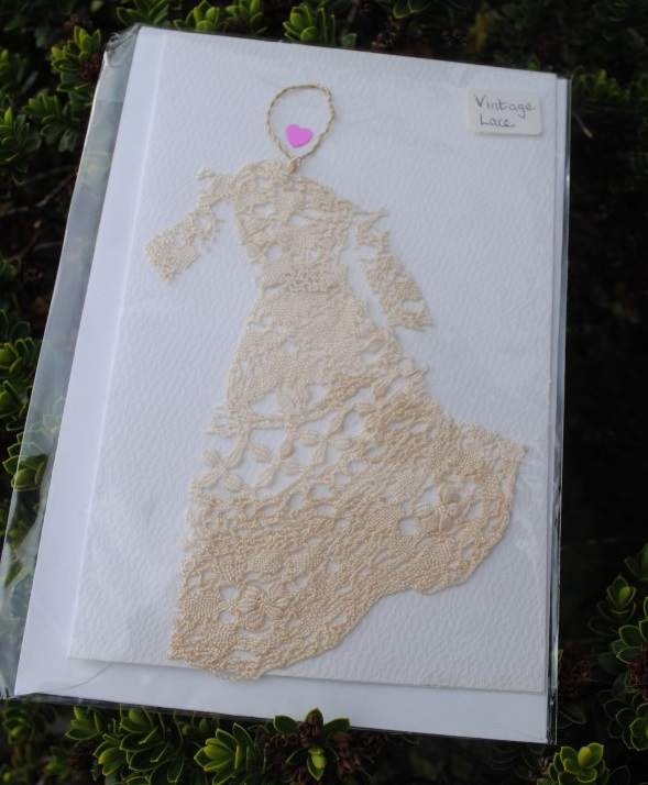 Handmade vintage lace wedding card