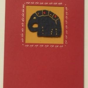 Handmade greeting card with embroidered blue felt elephant