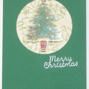 Handmade Christmas tree greeting card